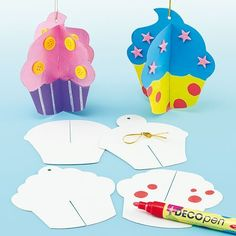 Cake decorating is fun! Pre-cut card shapes to decorate and slot together to create colourful 3D hanging decorations