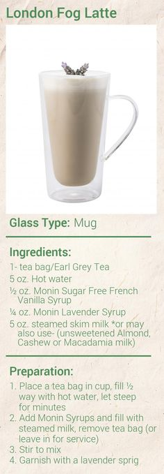 Create this delicious London Fog Tea Latte in minutes using Monin Gourmet Syrup. Add a splash of Monin to coffee, cocktails, teas, lemonades and more. Healthy Shakes, Healthy Drinks, London Fog Tea Latte, Non Alcoholic Drinks, Beverages, Cocktails, Lavender Syrup, Tea Recipes, Bebe