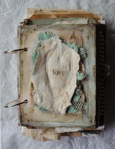 MIXED MEDDICA JOURNAL! heart altered book by Nellie Wortman