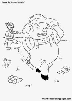 Cuentos infantiles: Dibujos para colorear a los tres cerditos y el lobo. Cuento en imágenes, secuencia temporal. Dibujos para colorear y texto.