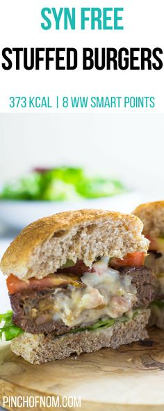 Syn Free Stuffed Burgers | Pinch Of Nom Slimming World Recipes 373 kcal | Syn Free | 8 Weight Watchers Smart Points