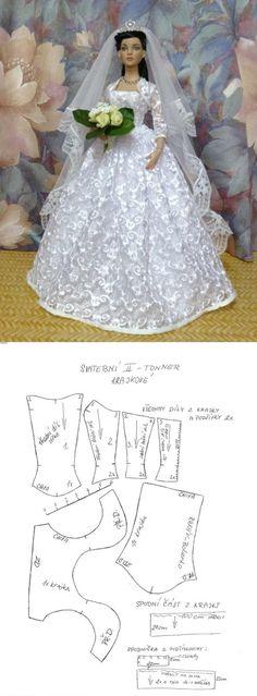 Новости  Свадебное платье для куклы.