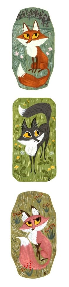 Colorful fox prints - I like the colors and the backgrounds