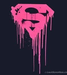 Pink runny paint Superman Logo