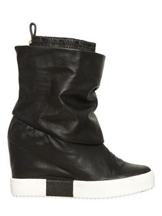 a45e6d667e2ac Giuseppe Zanotti Black Leather Sneakers, Black Wedge Shoes, Wedge Heel  Sneakers, Leather Wedges