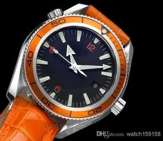 Classic Men's Mechanical Watch Swiss Luxury Brand Watch Black Dial Orange Bezel Leather Band Om017 Wholesale Watches Fashion Watches From Watch159158, $55.29| Dhgate.Com