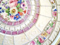 Broken China Mosaic Silverplate Tray pink cream por CatnipStudio