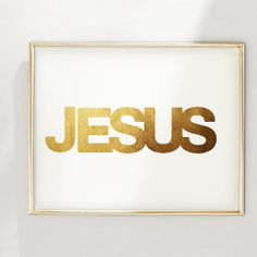 PRINT Jesus hand-applied Gold Foil Print by Geordanna the Artist of GlamLambCreations on Etsy, $24.99 #typography