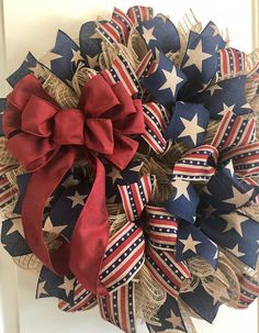 Primitive Patriotic Deco Mesh Wreath
