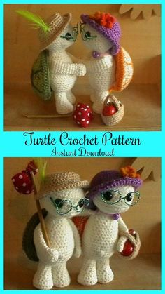 How cute are these turtles! Amigurumi crochet turtle Pattern #ad #Etsy #turtle #crochet