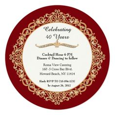 Shop Ruby Wedding Anniversary Celebration Round Invitation created by PatternsModerne. Personalize it with photos & text or purchase as is! Wedding Anniversary Celebration, Birthday Party Celebration, Anniversary Invitations, Zazzle Invitations, 40th Anniversary, Happy 40th, Happy Birthday Parties, Create Your Own Invitations, Celebrities