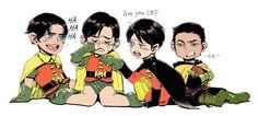 Robins. Jason Todd, Dick Grayson, Tim Drake, and Damian Wayne