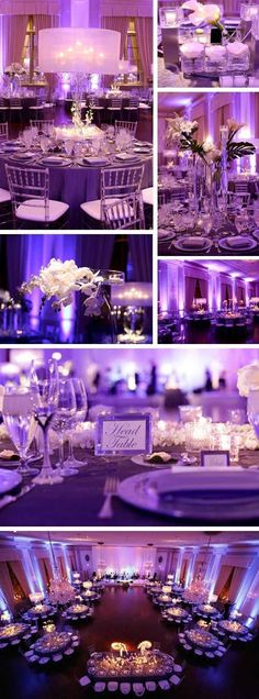 Wedding reception photography - Chicago photographer Rachel Lindemann shares this sleek and sophisticated wedding held at The Standard Club with decor by Ronsley Special Events Wedding Goals, Wedding Themes, Wedding Colors, Wedding Planning, Purple Wedding Receptions, Event Planning, Uplighting Wedding, Wedding Events, Wedding Centerpieces