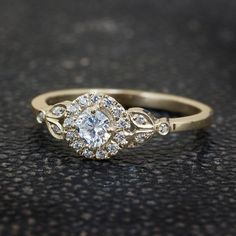Leaves Engagement Ring Handmade 18K Yellow by SillyShinyWeddings