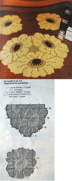 Crochet pattern for a tablecloth Filet Crochet Charts, Crochet Diagram, Crochet Motif, Crochet Designs, Crochet Sunflower, Crochet Flowers, Thread Crochet, Crochet Stitches, Doily Patterns