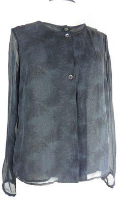 4ee7931b3c4da Size 10 S Pink by Thomas Pink Pure Silk Chiffon Blouse Shirt Charcoal Grey