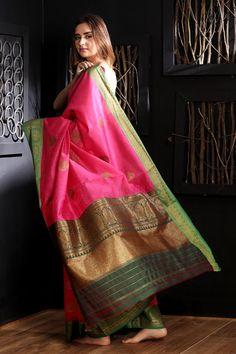 Pink Chanderi Silk Saree With Green Border Chanderi Silk Saree, Buy Sarees Online, Pink Saree, Pink Silk, Chiffon, Sari, Indian, Elegant, Green