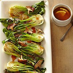 Broiled Bok Choy with Miso Sauce - just bought some miso at the store to experiment with.