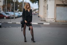 People 2000x1333 urban legs high heels women women outdoors black coat standing tights pantyhose Nylons