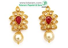 22K Gold Uncut Diamond Earrings With Ruby & South Sea Pearls: Totaram Jewelers: Buy Indian Gold jewelry & 18K Diamond jewelry