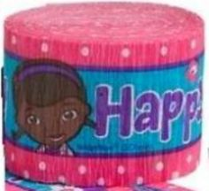 """[Single Pack] Crepe Paper Streamer Roll """" Doc McStuffins Birthday Design"""" for Decoration and Craft Supply with 30 Ft / 9.1 M Length {Pink, Blue, and Purple Colors}"""