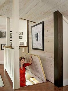 The Best Whole House Remodel 2015 A repurposed door closes off the attic space in the home of our Reader Remodel Contest winners for when the family wants to conserve heat. Attic Bedroom Small, Attic Bedrooms, Attic Playroom, Attic Loft, Loft Room, Attic Bathroom, Attic Bedroom Storage, Attic Bedroom Designs, Attic House