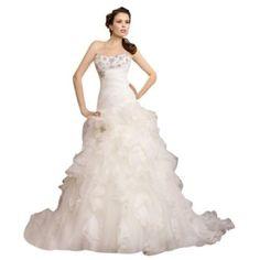 Dearta Womens A-Line Sweetheart Court Train Organza Wedding Dresses
