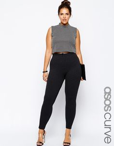 ASOS CURVE Exclusive High Waist Skinny Trouser In Texture