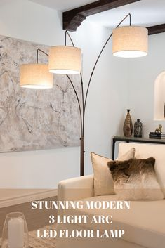 This lamp features a four rotary switch on the main pole that allows you to opt for one, two, or all three lights to be illuminated all at once or individually, which provides ambiance & mood lighting as well as light bright enough for reading & hobbies w Bright Floor Lamp, Large Floor Lamp, Silver Floor Lamp, Tall Floor Lamps, Tall Lamps, Led Floor Lamp, Modern Floor Lamps, Modern Table, Farmhouse Floor Lamps