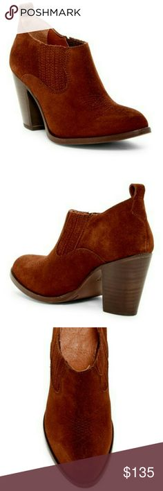 """Frye Slip On Suede Bootie An essential bootie, perfect with any outfit!    - Almond toe,  Embroidery details, Suede construction - Dual elastic side gores.    - Slip-on.   - Lightly padded insole for comfort.   - Back pull loop - Approx. 3"""" shaft height, 11.75"""" opening circumference, approx. 3"""" distresses stacked heel - Suede upper, leather lining and sole Frye Shoes Ankle Boots & Booties"""