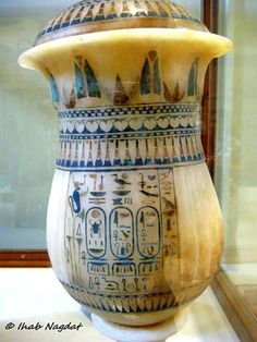 This splendid alabaster vase from KV62 has three cartouches bearing the names of Tutankhamun and his consort, Ankhesenamun. Egyptian Museum, Cairo.