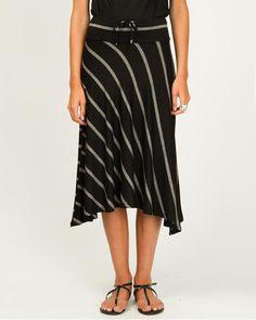 Rayon Jersey Stripe Asymmetrical Skirt