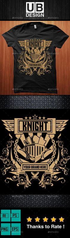 T-Shirt Knight Illustration #design Download: http://graphicriver.net/item/knight-illustration/12938621?ref=ksioks