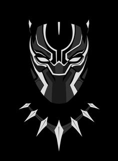# Minimalist art of the Marvel Black Panther Black Panther Party, Black Panther Marvel, Black Panther Necklace, Black Panther Tattoo, Panther Logo, Black Panther Drawing, Black Panther Face, Tattoo Black, Marvel Dc