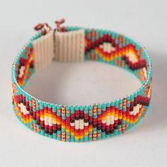 Carlsbad Bead Loom Cuff Bracelet Native American Style Beaded Jewelry Boho Tribal Turquoise Beadweaving Southwestern by PuebloAndCo on Etsy Loom Bracelet Patterns, Bead Loom Bracelets, Bead Loom Patterns, Bracelet Crafts, Native American Beading, Native American Jewelry, Boho Jewelry, Beaded Jewelry, Dainty Jewelry