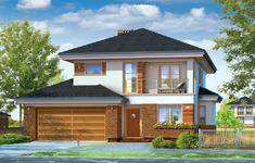 Projekt domu Kasjopea 4 jest wariantową wersją projektu Kasjopea, z powiększonym do dwóch stanowisk garażem. Budynek jest piętrowy, przekryty czterospadowym dachem, a urozmaiceniem prostokątnej bryły jest parterowa część garażu, oraz wykusz jadalni, podcień, balkony i loggie. Nowoczesna architektura budynku jest jednocześnie stonowana, nieprzesadzona, co dodaje domowi elegancji. 2 Storey House Design, Small House Design, Modern House Design, Home Interior Design, Exterior Design, Duplex Plans, Plans Architecture, House Extension Design, Bathroom Pictures