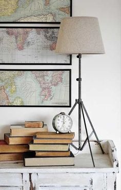to Make a Lamp From a Tripod {The Painted Hive Love! Lamp made from recycled music stand, and framed old maps on the wall. via The Painted Hive. Lamp made from recycled music stand, and framed old maps on the wall. via The Painted Hive. Diy Tripod, Tripod Lamp, Home Interior, Interior Design, Bathroom Interior, Make A Lamp, Sweet Home, Diy Casa, Decor Scandinavian