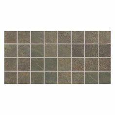 "Daltile Continental Slate 3"" x 3"" Mosaic Tile in Brazilian Green"