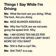 """along with """"don't even think about it fucker! """"  """"you're driving in the wrong lane snail """""""