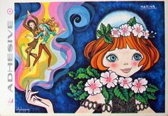 Vintage Big Eyed Girl Adhesive Postcard | por Sillyshopping