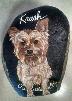 Hand Painted Rocks Stone Paintings Yorkshire Yorkie Dog Pet Portraits Wildlife Artist Animal Custom memorial Gift Grave Garden Decor Loss