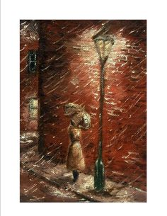 ACEO  card  Waiting at The Lampost   girl with by StitchMikki, $2.00