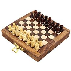 Handcrafted Wooden Folding Magnetic Chess Set  Wood Travel Games  5 x 25  Great Gifts for Kids and Adults ** Be sure to check out this awesome product.Note:It is affiliate link to Amazon.