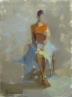 "Barbara Flowers, ""Figure Seated"", Oil on Paper 12x9 - Anne Irwin Fine Art"