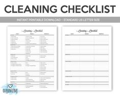 Cleaning Checklist: Home Management Binder, Letter Size Printable, Organization, Instant Printable, House Cleaning Checklist, Weekly Cleaning, Deep Cleaning Tips, Cleaning Solutions, Cleaning Hacks, Cleaning Contracts, Cleaning Service, Professional House Cleaning, Cleaning Business