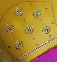 Aari work blouse can be customized,call or whats app 7299852557 Cutwork Blouse Designs, Best Blouse Designs, Simple Blouse Designs, Embroidery Neck Designs, Dress Neck Designs, Aari Work Blouse, Hand Work Blouse Design, Magam Work Blouses, Fancy Dress Design