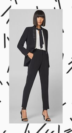 In a dressy dinner suit style  Stretch trousers with elegant pressed pleats  and tuxedo stripes made of satin in a matching colour. aaf0b6c6e