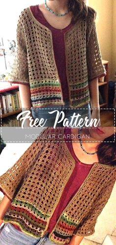 Modular Cardigan – Free Pattern – Free Crochet Knitting TechniquesCrochet For BeginnersCrochet PatronesCrochet Stitches Gilet Crochet, Crochet Cardigan Pattern, Crochet Shirt, Crochet Poncho, Easy Crochet, Crochet Sweaters, Crochet Vests, Crochet Baby, Crochet Shawls And Wraps