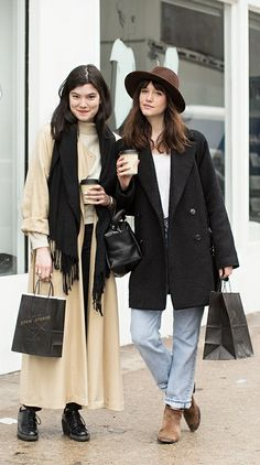 Stylish friends: trench coat, fedora, ankle boots, classic coat & more #style #fashion #streetstyle