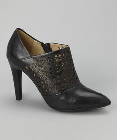 Black Perforated Caroline Leather Bootie by Geox